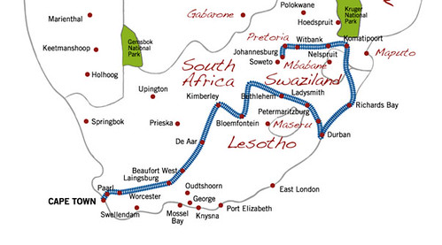 Shongololo Express, map of the Good Hope route