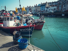 All Quiet on the Quayside (ShrubMonkey (Julian Heritage)) Tags: sea boats coast boat fishing harbour gear quay dorset ropes nautical weymouth trawler quayside moored wh704 wh407