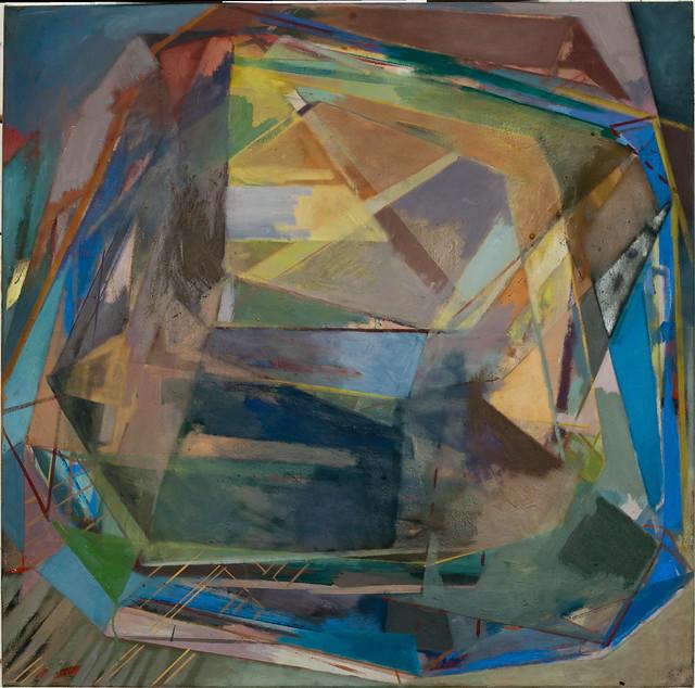 """""""Zentraler Stoß"""", Eitempera/Oil on canvas, 100 x 100 cm, 2013"""