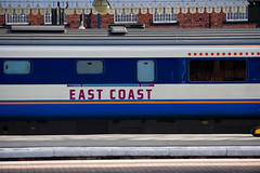 East Coast Trains-31 March 2013 (Martyn Gill - IMAGES...-150k-Views-THANK YOU) Tags: york uk blue white train canon 350d platform railwaystation northyorkshire carriages eastcoasttrains martyngillphotography2013