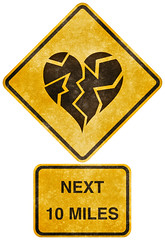 Crossing Road Grunge Sign - Shattered Heart (Free Grunge Textures - www.freestock.ca) Tags: road street white black texture love broken up silhouette sign yellow danger warning vintage design high funny break crossing sad message heart graphic image symbol 10 decorative quality background grunge stock grain creative picture dramatic free icon next communication relationship caution worn ten passion damage resolution roadsign isolation miles concept grainy conceptual damaged shattered drama distress res imaginary distressed heartbreak shatter broke pictogram isolated mile resource symbolic grungy breakup pictograph heartbroken shattering freestockca