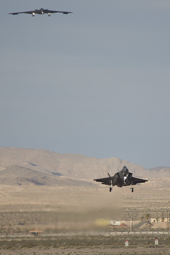 F-35 Lands with B-2 Overhead