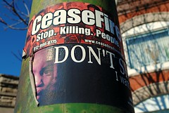 Cease Fire-Don't Shoot (Cragin Spring) Tags: park urban chicago illinois sticker midwest chitown il violence garfield chicagoillinois chicagoil ceasefire