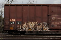 Relm (Revise_D) Tags: railroad red art bench graffiti tagging freight revised kaw trainart fr8 osd benched benching fr8heaven fr8aholics