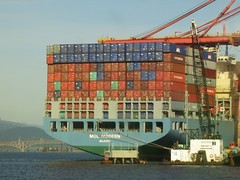Enormous container ship (Ruth and Dave) Tags: blue sea orange vancouver big dock ship harbour crane cargo container huge burrardinlet enormous unloading portofvancouver molmodern