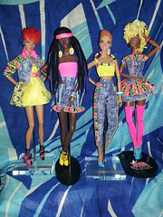 Barbie Jeans Week-End Fashions, PT. 1: Sunset Rave Ayumi, Pop of Color Annik, All White Now Colette, Monogram Passionate (Handbags & Nappy Barbies) Tags: barbie basics mattel colette ayumi poplife passionate integrity annik blackdoll barbiejeans fashionroyalty luchia barbiecollector blackdolls popofcolor hopelesslycaptivating aerodynamicvanessa mostmodpartybecky barbiebasics flickrandroidapp:filter=none sunsetrave monogrampassionate allwhitenow barbiejeansweekend