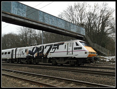 Skyfall Train (Jon 89) Tags: uk greatbritain travel bridge winter england snow cinema cold art english film lines rural speed train movie walking advertising logo march countryside photo dvd high artwork track view image little unitedkingdom near walk character famous main engine rail railway scene line number company gb bond actor service agent british locomotive launch stevenage iconic productions hertfordshire 007 eastcoast imagery jamesbond carriages herts mi6 livery eon unveiled danielcraig sammendes class91 2013 intercity225 skyfall wymondley 91007 chantrylane margaretswood