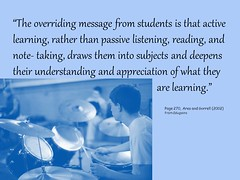 The overriding message from students is that active learning... (Ken Whytock) Tags: school students reading education message appreciation listening learning teachers subjects notetaking active deepens