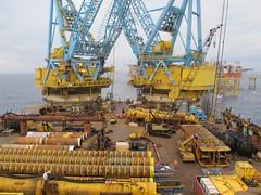 Saipem 7000 with new jacket piles at Eldfisk (thulobaba) Tags: norway hammer construction energy offshore engineering cranes s7000 yokohama buoy piles conocophillips saipem fugro spreaderbar oilandgas eldfisk