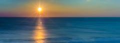 Simplicity ~ Explored (intrazome) Tags: ocean light sunset sea sun seascape color reflection nature colors beautiful landscape golden nikon colours peace pano peaceful panoramic d5100
