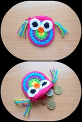 Monedero bho (AnaCrispis) Tags: verde azul crochet rosa colores lila amarillo purse tiny owl pequeo bho monedero ganchillo