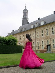 Twisting and turning (Paula Satijn) Tags: pink girl lady garden outside dress skirt tgirl gown satin chteau gurl hotpink ballgown