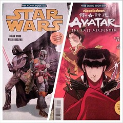 The Dark Horse comic was also double sided and has Star Wars on one side and Avatar The Last Airbender on the other. #comics #DarkHorse #StarWars #DarthVader #BobaFett #Avatar #AvatarTheLastAirbender (MisledYouth74) Tags: square squareformat normal iphoneography instagramapp uploaded:by=instagram