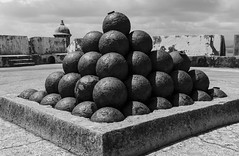 Cannon Balls - El Morro BW (rschnaible) Tags: world old blackandwhite bw shells heritage del ball puerto us site san juan parks balls el historic unesco rico national cannon caribbean morro felipe castillo explosives blackandwhitephotography