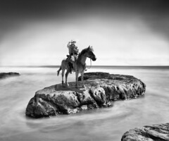 They Went Thataway (Ron Rothbart) Tags: california longexposure blackandwhite bw horse water monochrome composite photoshop manipulated cowboy rocks pacificocean drakesbeach monolith seacoast ptreyes