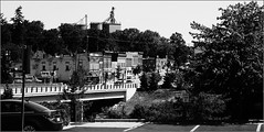 North Bridge Street (joeldinda) Tags: bridge trees bw car buildings river mainstreet downtown michigan grandledge joeldinda c50