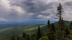 Dark Skies (NykO18) Tags: canada clouds estrie forest hills landscape montsaintjoseph montmganticnationalpark mounds northamerica parcnationaldumontmgantic pinetree qc qubec rain tree trees woods