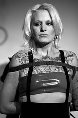 (-- brian cameron --) Tags: portrait pierced blackandwhite bw woman toronto monochrome female fetish blackwhite domination bondage bdsm tattoos blonde lipring nosering ropes tied canon50mmf18 piercings bound bd submission kinky fetishism discipline 550d sexualbondage