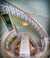 Somerset House - The Nelson Staircase by Simon & His Camera (Simon & His Camera) Tags: somersethouse stairs round architecture london blue colours iconic indoor pattern passage simonandhiscamera door