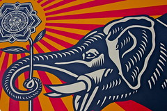 Elephant holding a flower ,while the sun rises. (codedtestament777) Tags: elephant flower sun rises elephantholdingaflower whilethesunrises graffiti art beautiful love life design surreal text bright sign painting writing nature crazy weird fabulous environment cartoon animation outdoor street photo border photoborder illustration collection portrait face expression character