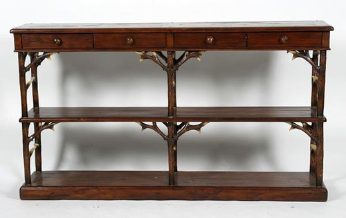 "Theo Alexander ""Castle Bromwich"" ""Forest Reminiscences"" Console Table w/ Faux Deer Antler Legs ($1,232.00)"