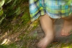Little Feet on Garden Paths 2 (LongInt57) Tags: legs feet child boy toddler children motion blur running path garden kelowna bc canada okanagan blue green panning