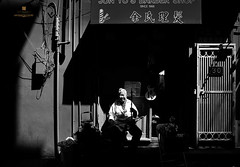 The Romantic Barber in Chinatown (louie imaging) Tags: san francisco barber chinatown california sf romance daily vibe music musician playing life erhu 30 barbershop