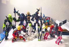 We meet at last! (0nuku) Tags: bionicle lego group onuku canvas fidget alpha arkus jaller jala tablescrap gargoyle demon toa robot selfmoc