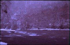 (bensn) Tags: pentax lx fa 31mm f18 limited film slide velvia 50 japan gunma waterfall river snow winter