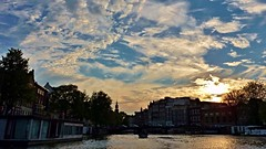 A  year ago in Amsterdam... (krystyna_piw) Tags: amsterdam city netherlands holland water canal sunset august summer clouds skies capital serene evening boat europe europa holandia
