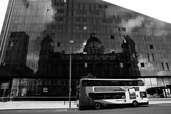 The Ghost of the Royal Liver Building (JamieHaugh) Tags: liverpool royalliverbuilding building reflection ghost outdoor outdoors blackandwhite monochrome blackwhite