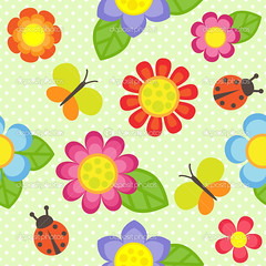 flower pattern (myasander65) Tags: flower background vector design floral butterfly retro silhouette pattern summer ornament nature cartoon leaf art spring element illustration pink plant blossom daisy petal green season shape bloom baby children kid paper cute style drawing graphic childish scrapbook funny card ladybug insect ladybird frame print decoration seamless fabric texture textile