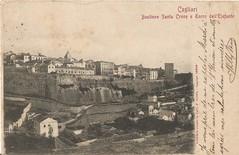 Cagliari_Bastione Santa Croce e torre dell'Elefante_VG_francobo (paolocogoni) Tags: sardegna cagliari cartolina antica vintage bastione santa croce torre elefante sardinia