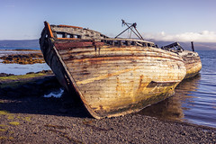 Salen (ShrubMonkey (Julian Heritage)) Tags: elsiemay pavonia girlclaire wrecked beached abandoned derelict old nautical hull rusting decay wrecks soundofmull isleofmull mull coast coastal sea beach salen scotland landscape sonyalpha a7r fishingboats boats