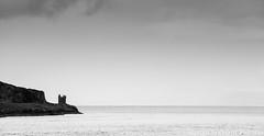 Castle Headland (martbike) Tags: castles negativespace blackandwhite scotland headland coastline seascapes