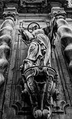 External Stonework - Parroquia de la Mare de Deu de Betlem Church - Barcelona (BW) (Panasonic Lumix LX100 Compact) (markdbaynham) Tags: barcelona city urban metropolis spain spainish espana espanol catalan panasonic lumix dmc dmclx100 lx100 compact 2475mm f1728 zoom lumixer bw stonework church parroquia de la mare deu betlem detail