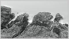 Fingers of the Land (spodzone) Tags: longexposure blackandwhite panorama motion art nature composite manipulated landscape photography spiky coast scotland rocks emotion space dramatic places equipment negativespace filter coastline complexity geology stark toned contrasts stacked airy existentialist dumfriesandgalloway hugin circularpolariser rockstone timescale digikam rockwater landwater nd8 nd4 shapeandform rawconversion enfuse timeflows wacke killantringan darktable photivo upperordovician digitallowpass