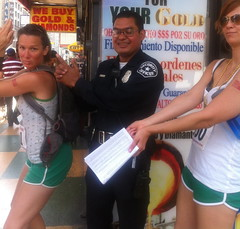A Man With A Badge Doing Charlie's Angels (Toastwife) Tags: ca urban usa la amber scavengerhunt iphone adventurerace aleks challengenation challengenationla