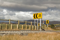 35km corner (Flimin) Tags: road sign yellow clouds speed canon country arrow limit pauatahanui 650d eos650d pregamesweepwinner gamesweepwinner rebelt4i