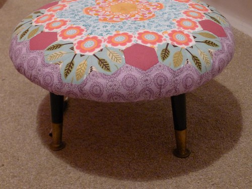 English Paper pieced Hexagon Footstool 2