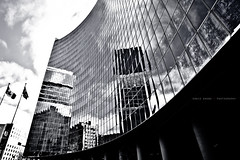 Ontario Power building (Ernie Kwong Photography) Tags: urban bw toronto ontario abstract reflection glass architecture canon blackwhite urbanlandscape