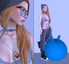 Let's hop! (Toya Shelman) Tags: new dog ball hair skull glasses jump perfect pants mesh skin boots top tag energie bra stock shades secondlife chemistry stuff whatever wardrobe hop beanie sweatpants gola studded spiritstore secondlifefashion glamaffair flylily