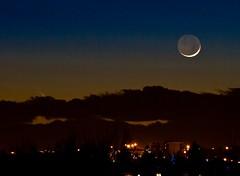 For The last time PANSTARRS (John Andersen (JPAndersen images)) Tags: longexposure sunset moon canada calgary clouds alberta astronomy newmoon earthshine panstarrs cometpanstarrs