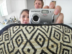 Silke and Christina's flat (Gary Kinsman) Tags: 2005 camera distortion selfportrait motion reflection london movement convex motionblur reflective curve highbury metalic distort slowshutterspeed n7