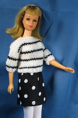 Black and White outfit (Debras Closet) Tags: white black mod francie dollclothes