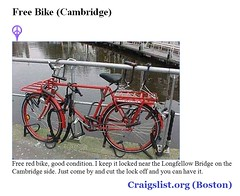 Free Red Bike - Cambridge (sixty8panther) Tags: bridge bike bicycle boston funny good lol massachusetts internet humor free wicked deal craigs longfellow goodluck toofunny masshole redbike craigslistorg craigslistbelike