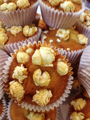 Popcorn cupcakes (Nada*) Tags: uk food london cake mobile baking phone sweet telephone cell delicious eat cupcake bakery popcorn 4s foodfestival iphone popcorncupcake iphone4s londoncoffeefestival