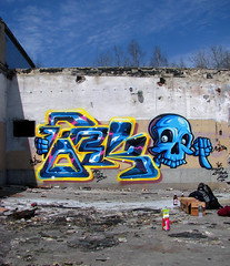 Fork X Malik (FORK4 / AFX / SW307 / UBS) Tags: blue yellow skull graffiti freestyle hungary factory budapest poland fork electro malik afx skill ubs mtn94 sw307