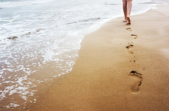 Walking on the sand (dessibott) Tags: morning travel sea summer woman beach nature water girl beautiful sport female way nude walking island foot sand holidays paradise mediterranean track waves alone afternoon escape legs path barefoot tropical prints coastline relaxation tread vacations flee footing