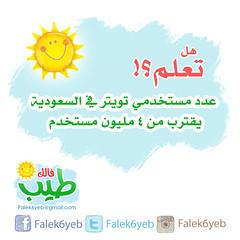 هل تعلم .. تويتر (Falek6yeb) Tags: دعاية حب السعودية مليون فرح فكر إعلان نجاح شركة سعادة بزنس ثقافة إعلانات وعي مجتمع فائدة يوتيوب تسويق استثمار خدمة ربح فيسبوك عرضخاص تويتر معلومة ريتويت فالكطيب